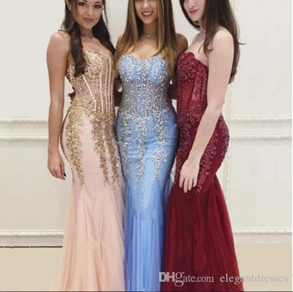 2020 Seksi Sevgiliye Bling Bling Kristal Mermaid Gelinlik Modelleri Ince Özelleştirilmiş Uzun Tül Kadınlar Özel Durum Parti Törenlerinde Abiye giyim