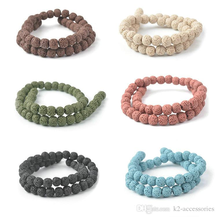 6 8 10mm Natural Lava Stone Beads mix colors Volcanic Rock Round Stone Loose Beads For DIY Bracelet necklace semi-precious stones