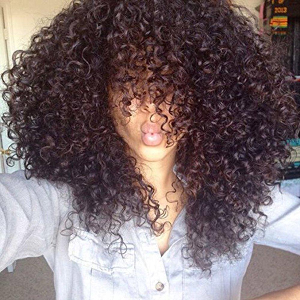 180% mongol Kinky peruca Pré arrancado parte dianteira do laço do cabelo humano perucas para mulheres Afro Kinky Curly 360 Lace Wig frontal Remy