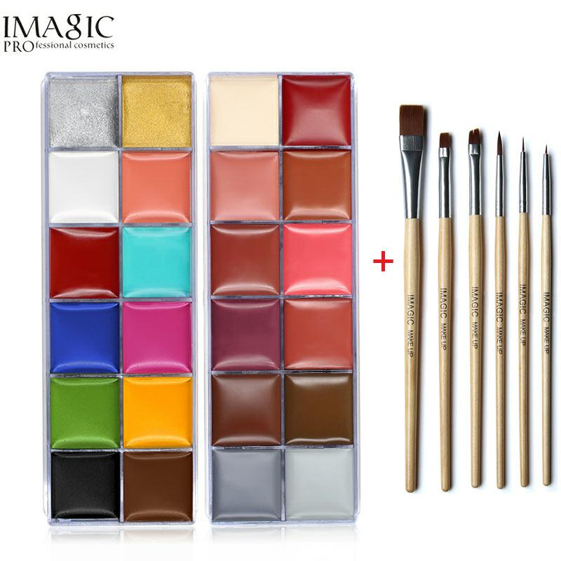 IMAGIC Face Body Paint Oil Painting Art Make Up Set Tools Party Halloween Fancy Dress 12 Flash Tattoo Color+6pcs Paint Brush