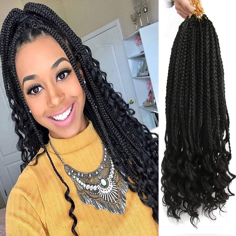 2019 Crochet Hair Black Box Braids With Curly Ends Ombre Brown Kanekalon  Loose Wave Synthetic 18 Inch Box Hair For Braiding Hair Extensions From