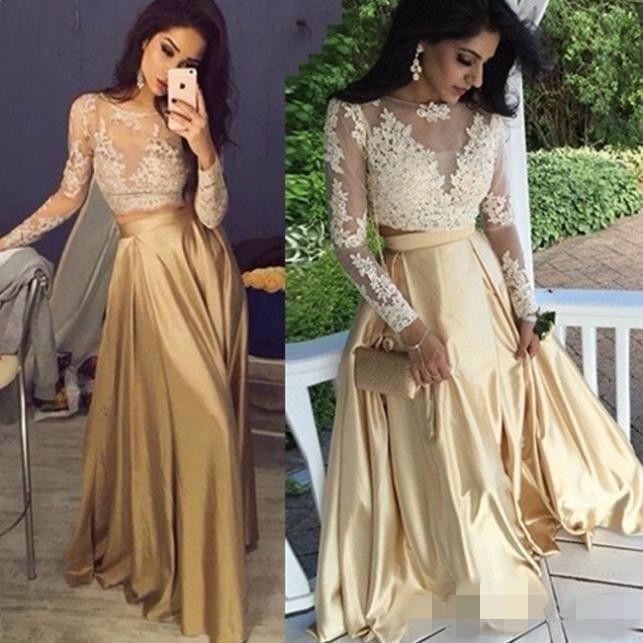 Champagne Due pezzi Dresses Prom Dresses 2020 Long Illusion Bodice Lace Applique Elastico Satin Tulle Piano Lunghezza del pavimento Gioiello Collo Abiti da sera formale