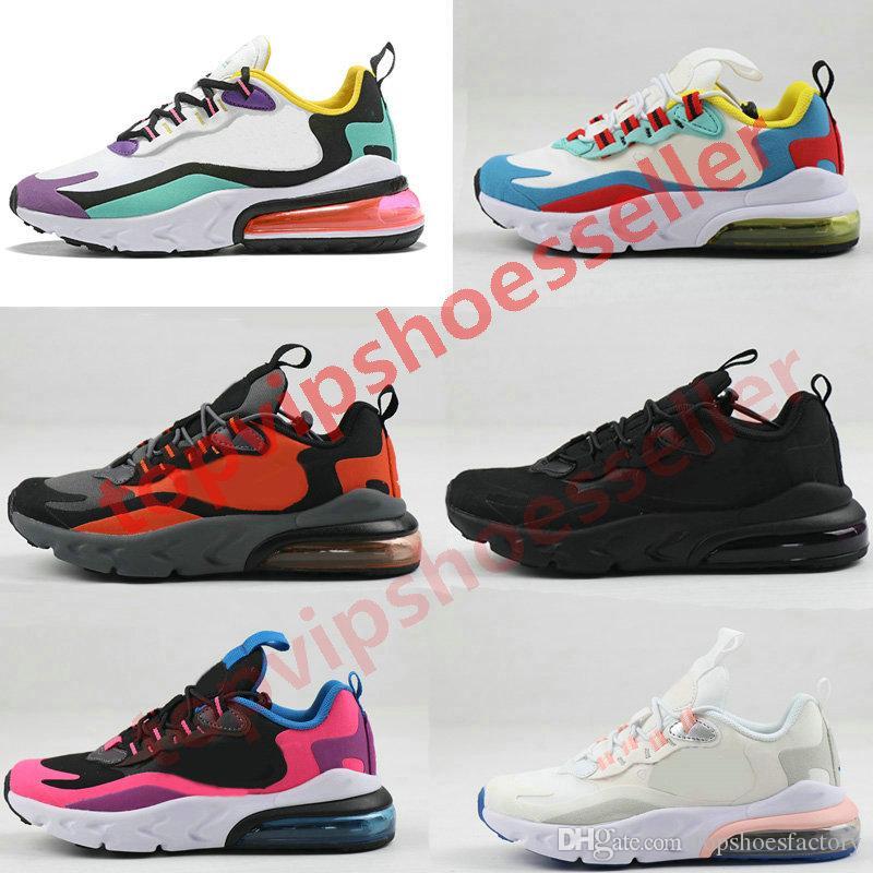 Nike air max 270 react airmax 270 Kid shoes جديد 270 تتفاعل أحذية باوهاوس TD فتى بنت الاحذية أسود أبيض فرط مشرق البنفسج طفل الأطفال حذاء 28-35