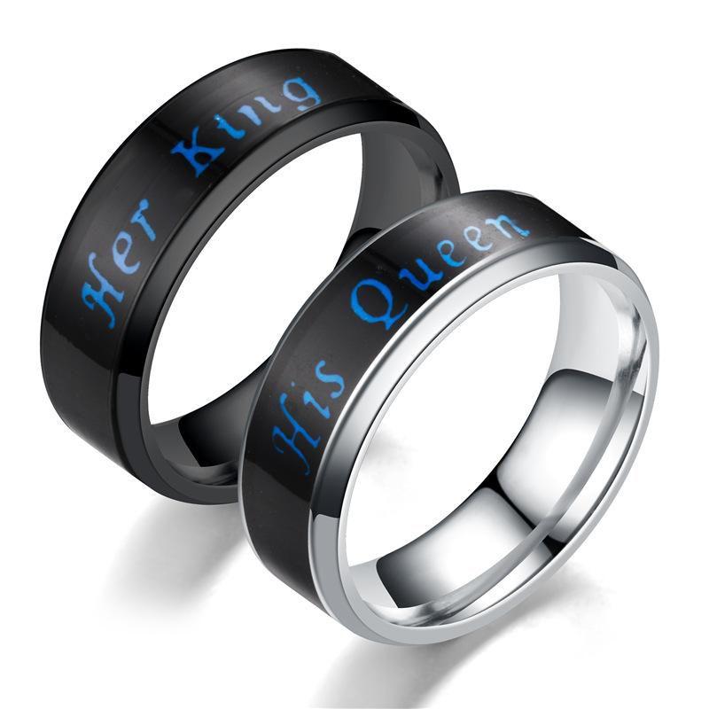 Anel de temperatura Seu Rei Sua Rainha Anel Anéis de Noivado Casal Anéis De Noivado de Casamento Designer de Jóias anel