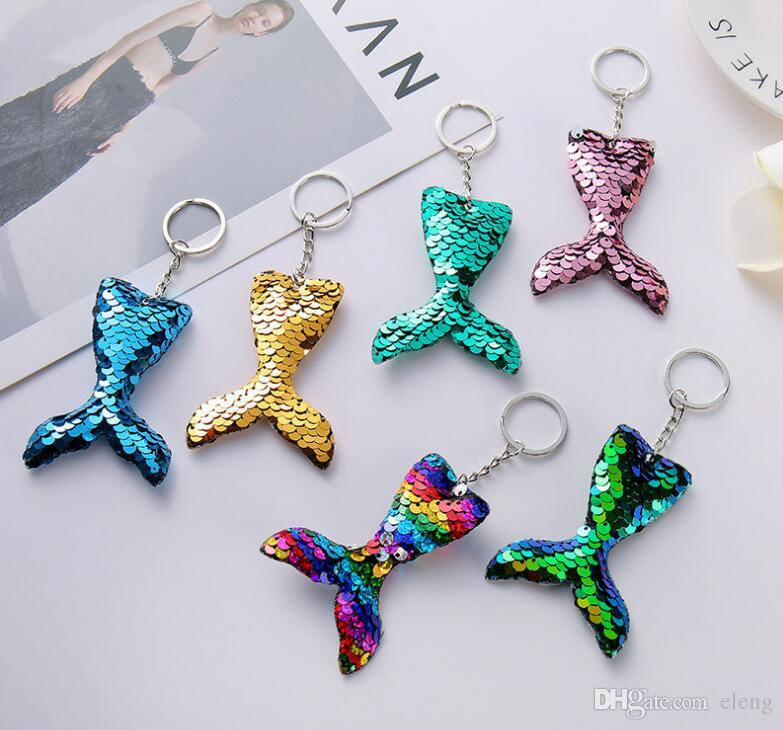 Car Bag Accessories Handbag Pendant Sequins Keychain Mermaid Tail Keyring