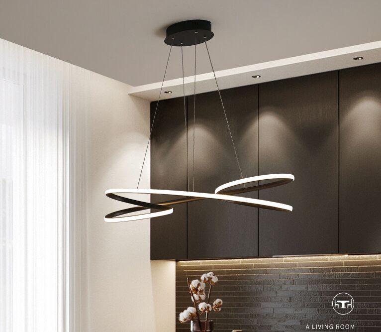 Modern luzes LED pingente para jantar quarto cozinha sala de bar loja de cor preta ou branca levou luminária MYY frete grátis
