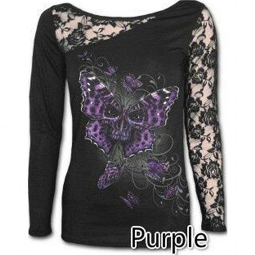New High Street T shirt Women Butterfly Spirit Lace Embroidery Patchwork Sexy Women Tops Long Sleeve S-5XL Camiseta Mujer T93304