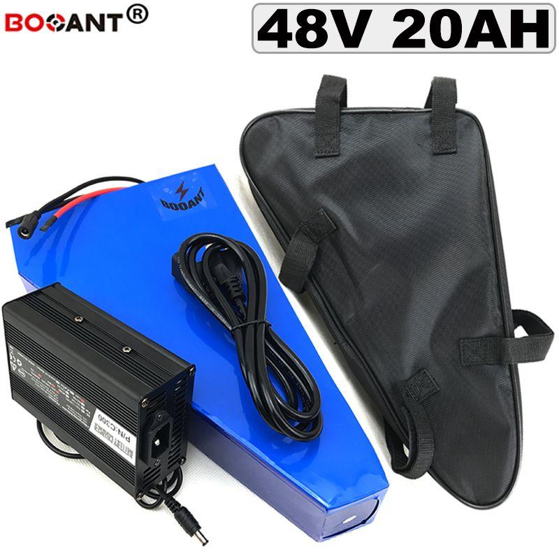 triangle batterie au lithium 48V 20Ah batterie vélo électrique pour la batterie 13S 48V 1500W cellulaire d'origine Samsung 18650 + un sac + 5A Chargeur