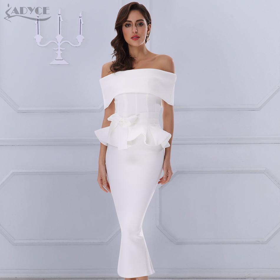 Adyce BowRuffles лодыжки длина знаменитости вечернее платье Bodycon партии 2020 Новый Белый Слэш шеи с коротким рукавом горячий клуб платье женщины MX200319