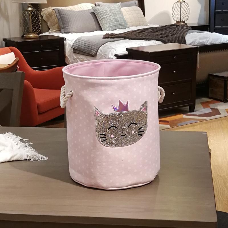 Dirty Laundry Basket Pink Swan Organizer Basket Drawstring Storage Baskets for Toys Books D35XH40cm