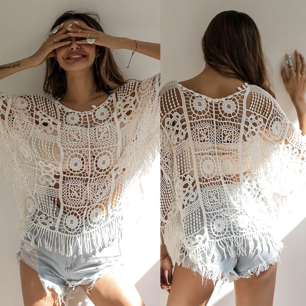 Sexy manica Bat scava fuori Bikini Beach Camicia Girocollo Pullover nappa del fiore del Crochet Top