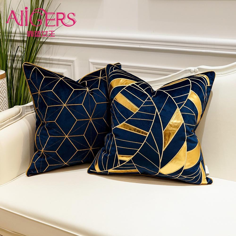 Avigers luxe Couvertures Bleues Appliqué Throw 45 x 50 Pillowcases Coussin de décoration Taie Sofa Chambre Y200103 cae