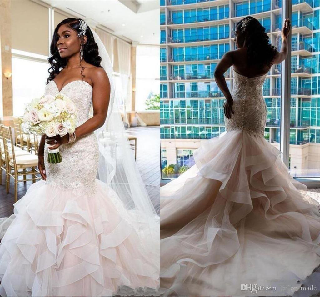 2020 Милая Африканская Русалка Свадебные Платья Бисер Кружева Сексуальная Спинки Свадебное Платье Многоуровневое Суд Поезд Vestidos De Novia Плюс Размер