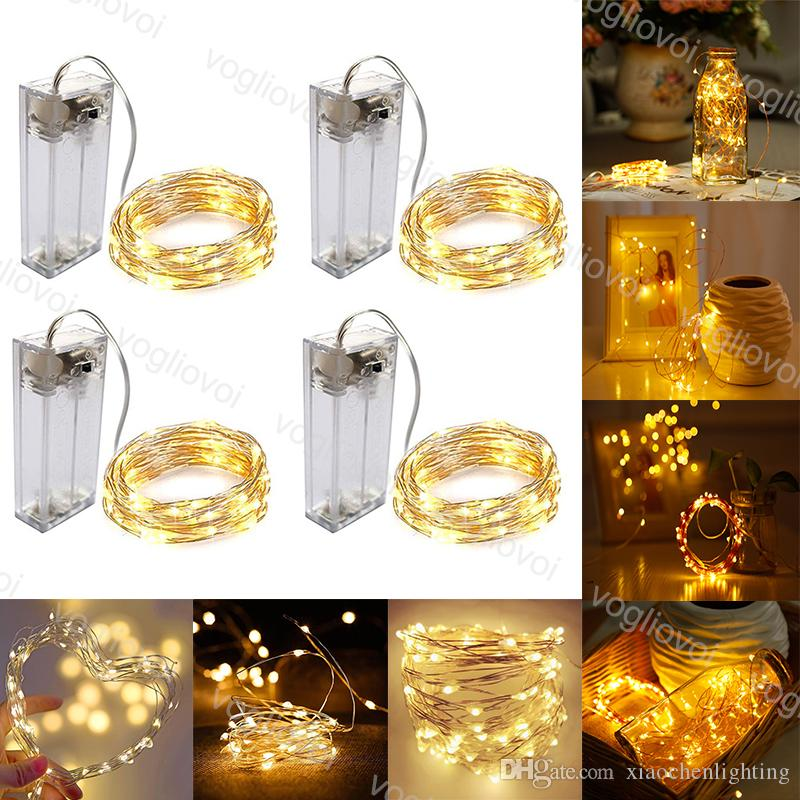 LED Strings Copper Silvery Wire 1M 2M 3M Holiday lighting For Fairy Christmas Tree Garland Wedding Party Decoration EUB