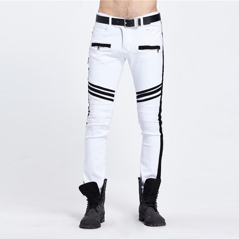 Magro Mulit Zipper Pockets rivestite Mens jeans casuali Maschi Abbigliamento Stripe Panelled Mens Designer Jeans Moda