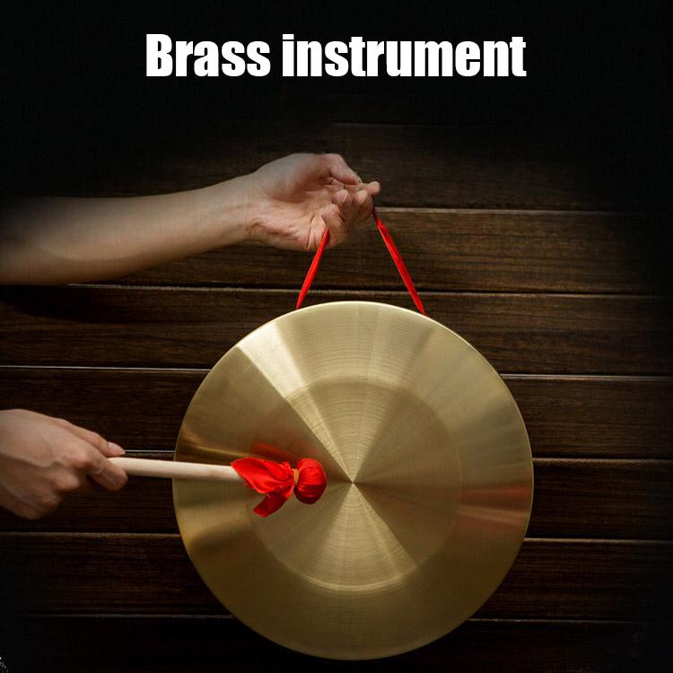 Hand Gong with Wooden Stick Traditional Chinese Folk Musical Instrument Toy for Kids Small Brass Percussion Instruments 9 12 15CM