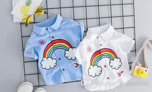 2019 In the fall fashion children boy colours of the rainbow pattern With short sleeves T-shirt HTYP105