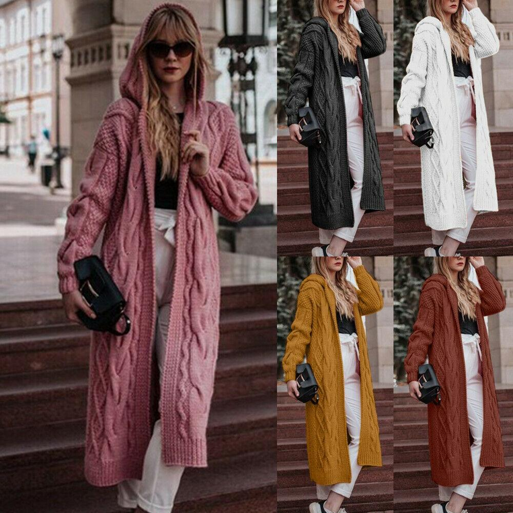 Frauen Herbst Hoodied Lange Strickjacke Langarm-Twist Lässige Street Fashion Coat