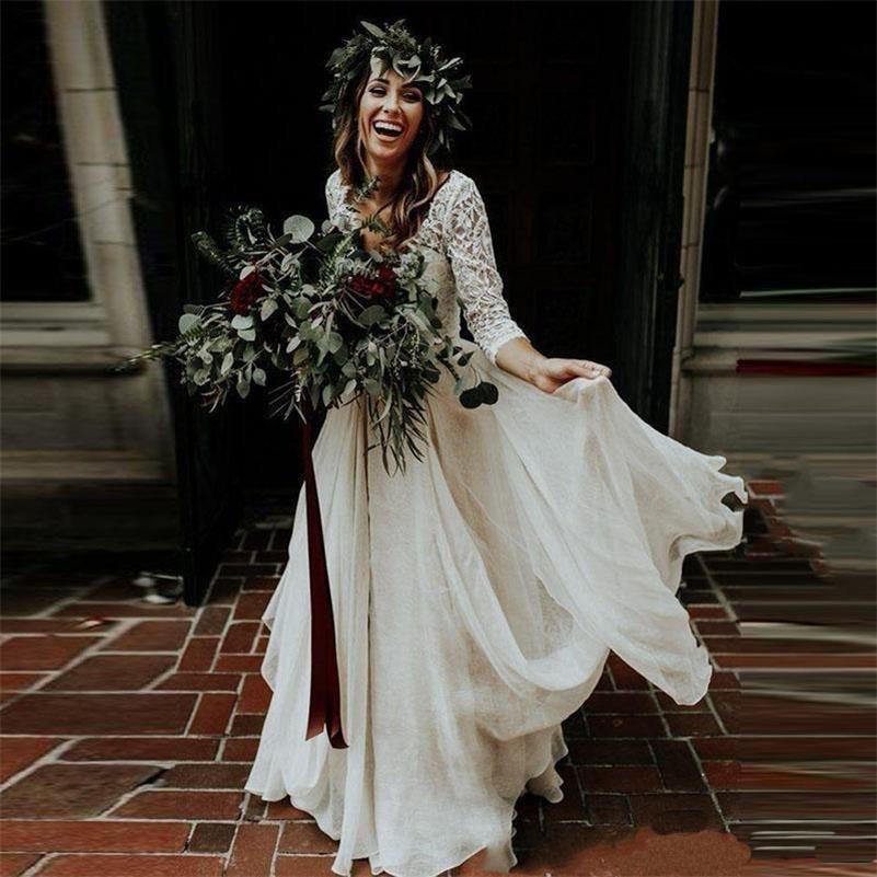 Simples Two Pieces Boho Beach Country vestidos de casamento Long Sleeve A-Line Chiffon Lace vestidos de noiva baratos