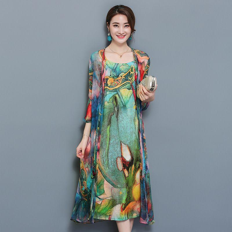 Large Size 3xl 4xl Donna 2 pezzi Set Donna Autunno Natioanl Stampa Sling Dress + Open Stitch Cardigan Suit Elegante Chiffon Vestido Y19051001