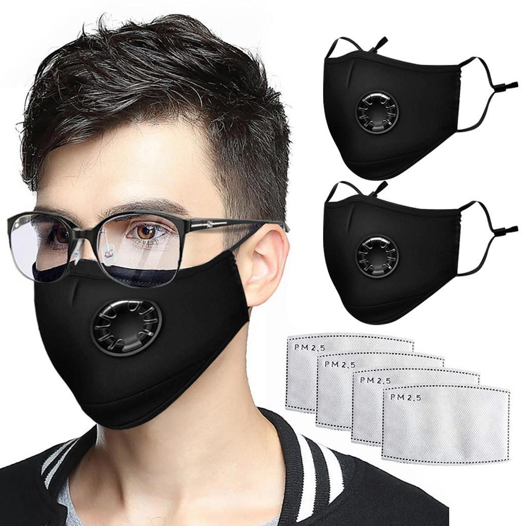 قناع الموضة الجديدة للجنسين القطن الوجه أقنعة التنفس مع صمام PM2.5 الفم قناع مضاد للغبار قابلة لإعادة الاستخدام قناع النسيج مع 2 مرشحات داخل
