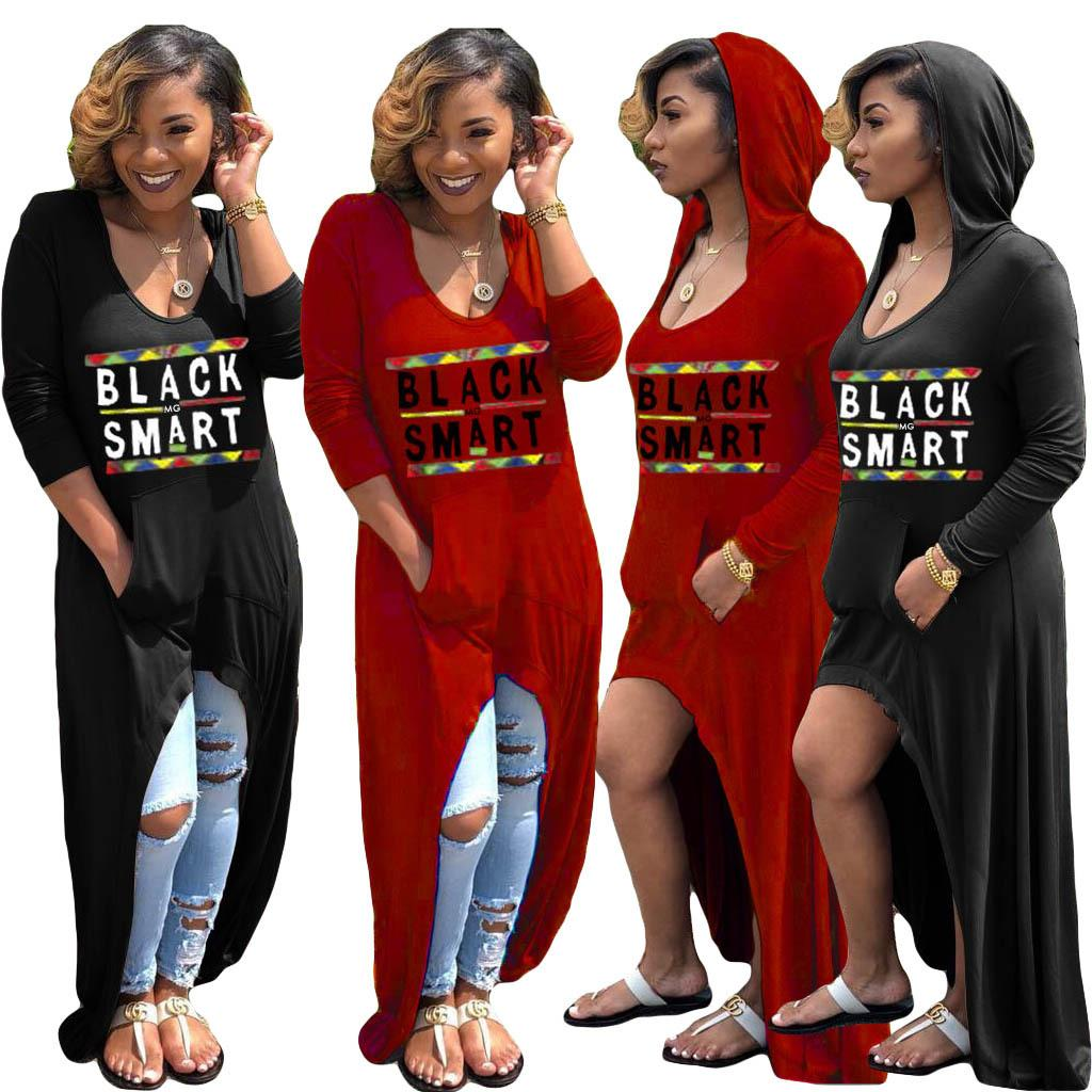 Letter Print Long Sleeve Dress Women Hi-Lo hooded Black Smart Dresses V-neck T-Shirt loose sexy maxi pocket pullover clothing L-JJA2289
