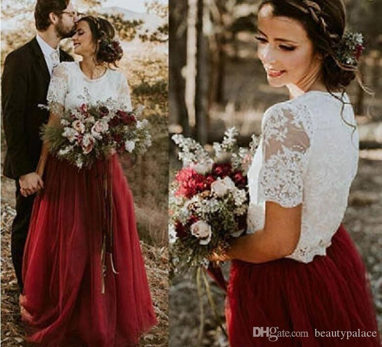 Vintage Two Pieces Country Wedding Dresses Ivory Lace Top Dark Red Burgundy Tulle Skirt Floor Length Bridal Gowns Bridesmaid Dresses