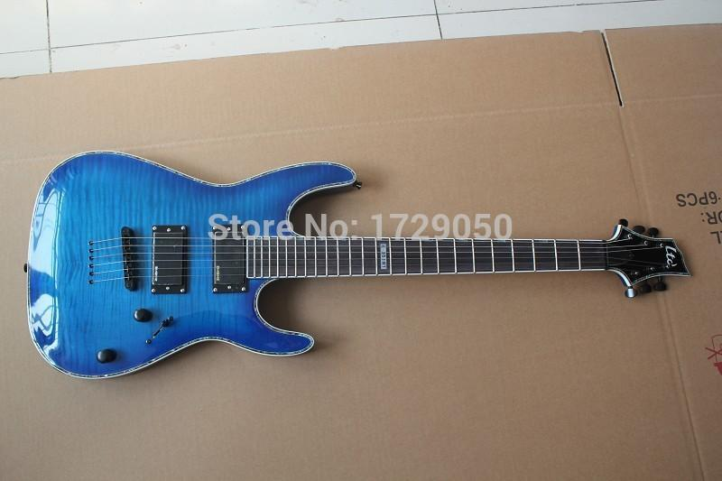 Custom Shop Top Quality shell inlay one piece neck Through the body With EMG Pickup LTD H-351NT blue Burst Electric Guitar 2015