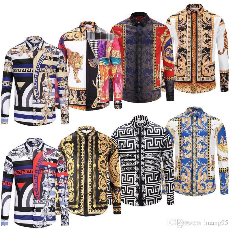 2019 moda de hombre camisa de vestir de manga larga impresa para hombres slim fit hombres camisas casuales de algodón Medusa camisa Camisas sociales