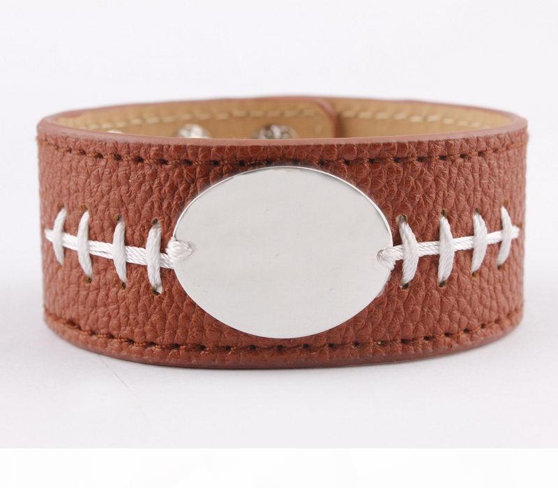 Piel monograma de plata del tono blanco pulsera de fútbol Manguito para el abrigo de las mujeres de los hombres personalizados del monograma personalizada de cuero PU pulsera brazalete
