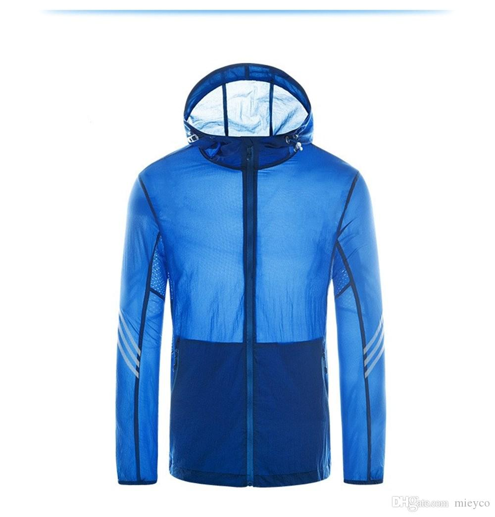 Los hombres de peso ligero de la chaqueta con capucha de secado rápido UV Protect pesca camisas a prueba de viento Escudo tops de Protección Solar caza al aire libre Senderismo Ropa de deporte