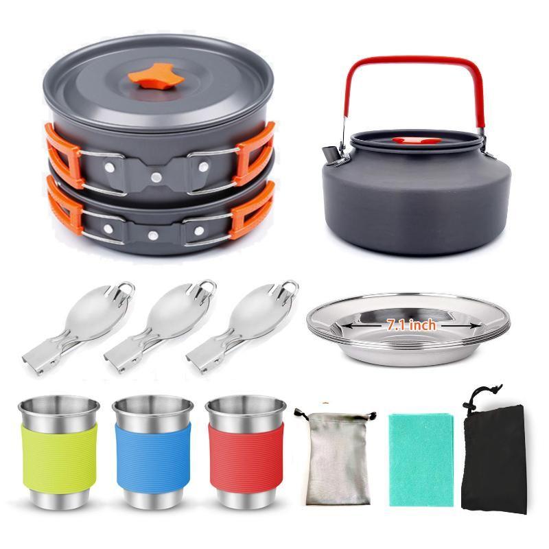 Camping Pan Pot Panelas Kit Camping Água Cup Colher com Carry Bag para piquenique Mochila Caminhadas panelas