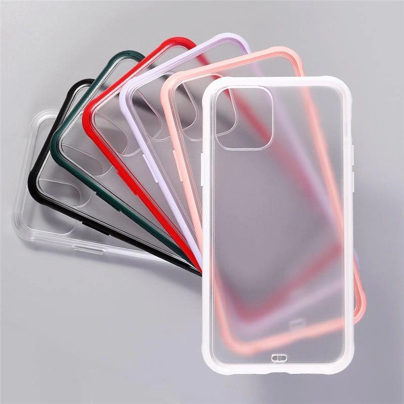 Transparent souple TPU dur transparent PC Phone Case pour iPhone antichocs 11 Pro Max X XS XR 8 7 6 Plus 007