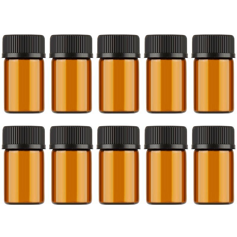 1ML / 2ML / 3ML مصغرة العنبر زجاج الكواشف من الضروري النفط إعادة الملء زجاجة قوارير الزجاج البني مع غطاء