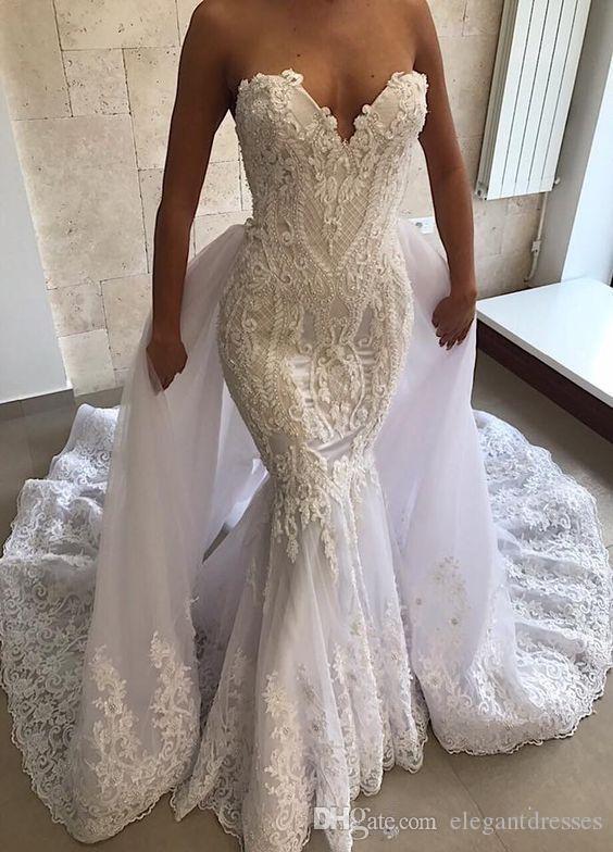Sexy Mermaid Wedding Dresses With Detachable Train Sweetheart Lace Appliques Wedding Dress Bridal Gowns Plus Size Vestidos De Mariee
