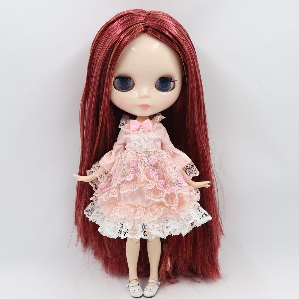 joint body Nude blythe Doll Factory doll rose red hair