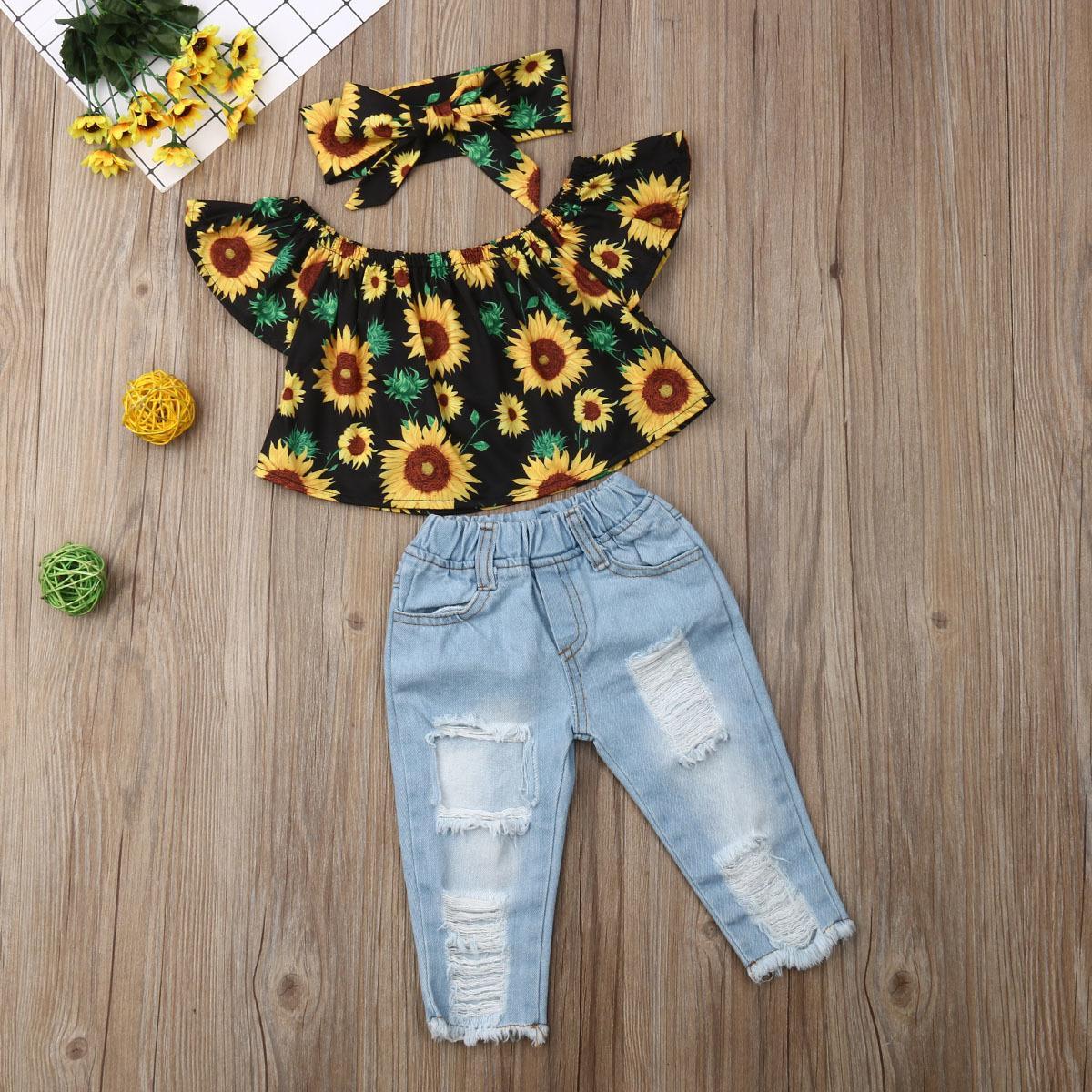 طفل طفلة الملابس قبالة الكتف عباد الشمس الزهور الأعلى وممزق الدينيم مجموعة بانت مع العصابة Y200325