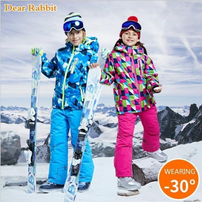 Sistema de la ropa infantil muchacha de los muchachos niños -30 grados de snowboard juego de esquí impermeables deportes al aire libre de la chaqueta de traje para la nieve ropa de los pantalones V191203 adolescente