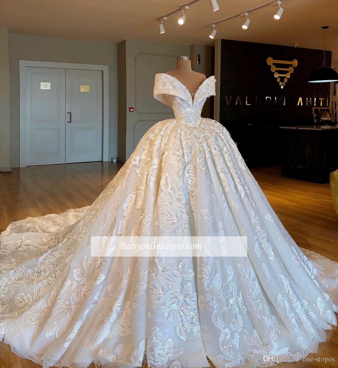 flowers wedding dress luxury ball gown vintage off shoulder bridal gown  cathedral wedding dresses plus size custom made vintage inspired wedding