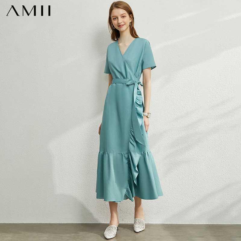Vestido sólido de las colmenas de las mujeres de la vendimia AMII Minimalismo primavera verano de señora causal alta cintura suelta volantes vestido Hem Mujer 12030125