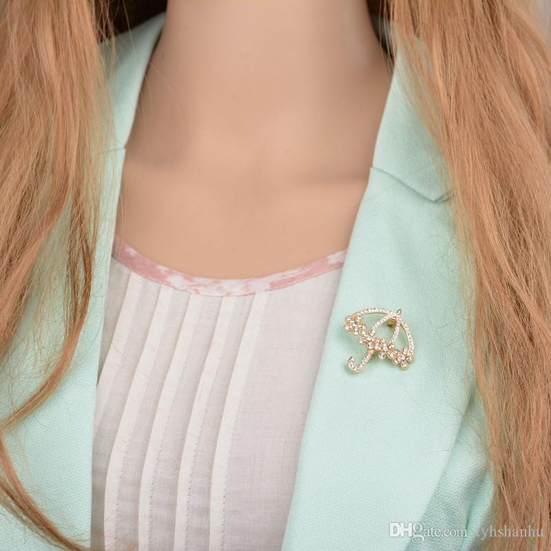 Fashion Rhinestone Umbrella Brooches Fashion Korea Brooch Lapel Pin Jewelry Accessories For Women b232