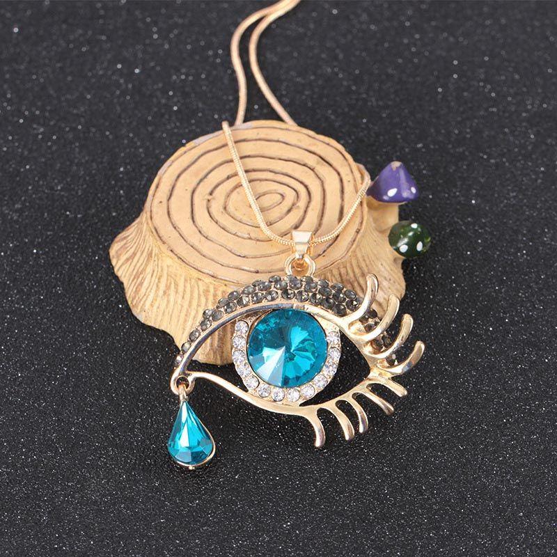 Unique Black /& Blue Crystal Eye Tear Necklace Chain Pendant Eyelashes Party