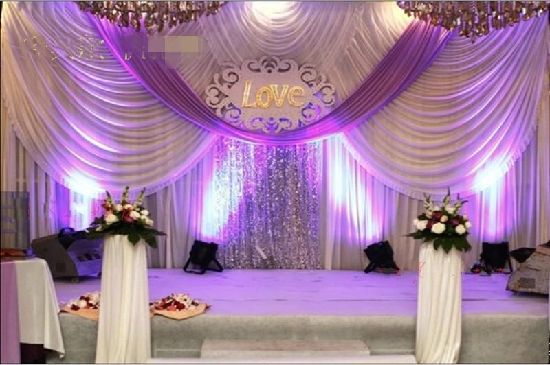 20FT 10FT * الزفاف ستائر خلفية مع الحدث سواجس وحزب النسيج الزفاف ستائر خلفية بما في ذلك الترتر الأوسط