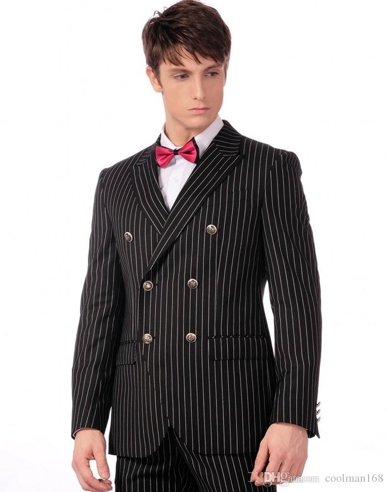 Fashion Dress Bello nero Stripe Men Wedding smoking doppiopetto smoking dello sposo degli uomini d'affari Cena / Darty Suit (Jacket + Pants + tie) 613