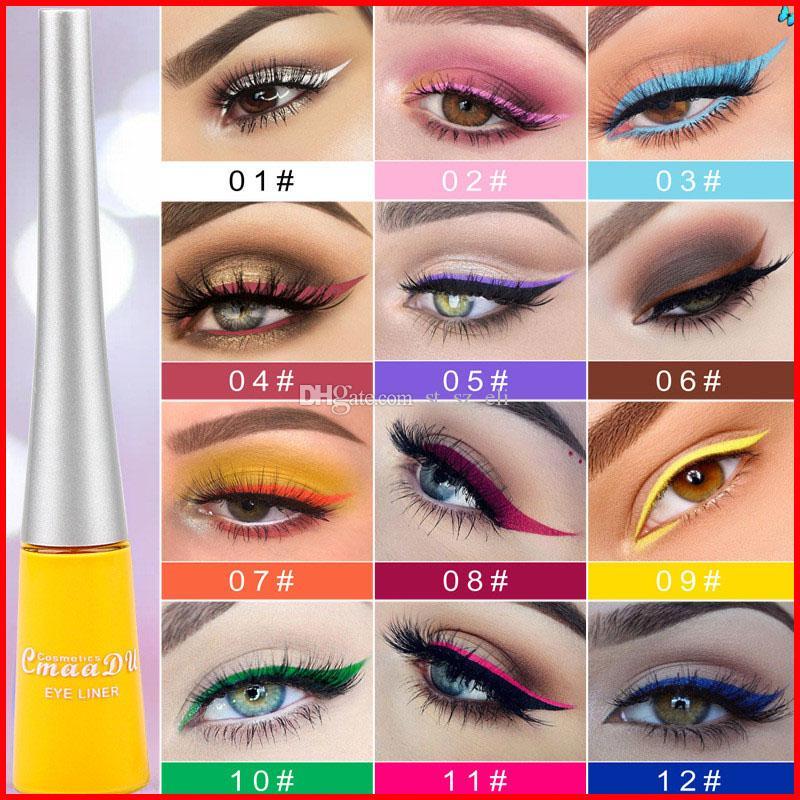 CMAADU 12 Kolor Matowy Eyeliner Coloful Quikc Suchy Płynny Eye Liner Długotrwały Pigment Wodoodporny Makeup Eye