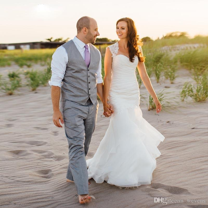 Şık Denizkızı Saten Gelinlik Sweetheart Dantel Aplikler Dantelli vestidos de Noivas Gelinlik Kır Düğünü Etekler