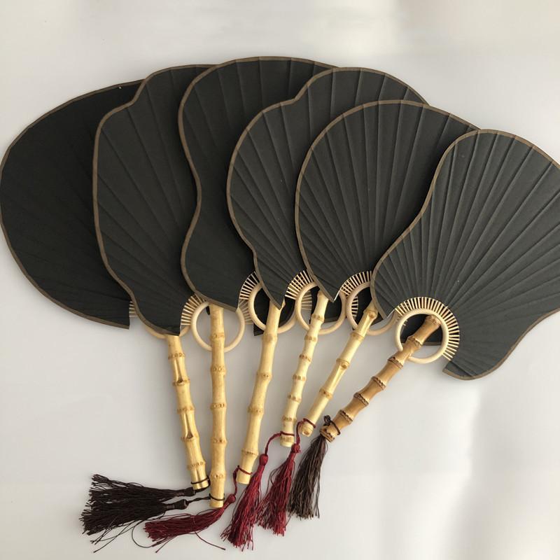 Siyah Vintage DIY Boş Kol Fan Rice Kağıt Geleneksel El Sanatları Çin El Fan Bambu Kök Fener Begonia Muz Yuvarlak Fan