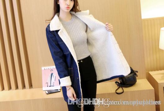 New Winter Fleece Thick Jean cappotti autunno caldo Moda Slim Fit rivestimenti monopetto cappotto