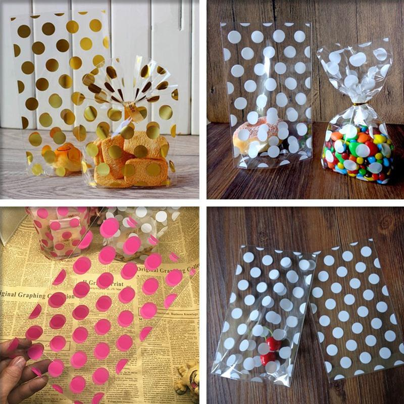 100pcs Gold Pink White Polka Dots Transparent Cookies Cellophane Bag - Candy Bags Q190603