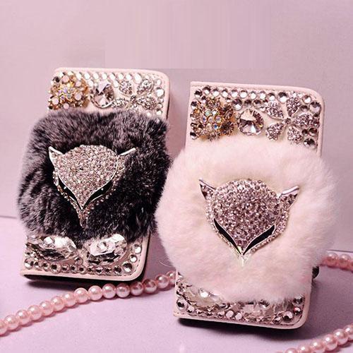 Lujosa joya, piel de conejo, piel de conejo, monedero, fundas de cuero, capa para iphone X XS MAX XR 4S 5S 5c 6 6Plus 7 8 Plus bling case